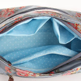 Blaue Blumenmuster imprägniern Belüftung-Segeltuch-Dame Handbag (23239)
