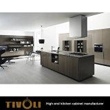 イタリアデザインによって曇らされるマットの黒い絵画台所家具(AP020)