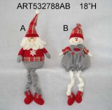 "24 ""H Floppy e Dangle Legged Santa e Snowman Christmas Decoration-2astst"