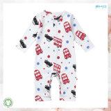 車の印刷の赤ん坊は柔らかい有機性幼児Playsuitsに着せる
