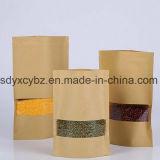 El papel de Kraft modificado para requisitos particulares se levanta la bolsa Ziplock para el alimento de bocado/el arroz/las tuercas/mariscos/frutos secos