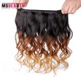 Paquets desserrés d'armure de cheveux humains d'onde de cheveu brésilien d'Ombre