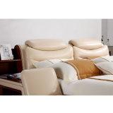 Кровать кожи цвета буйволовой кожи бежевая для пользы спальни (FB8153)