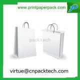 Hoher Quanlity fester vollständiger weißer flacher Griff-Papierträger-Beutel