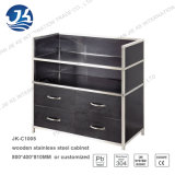 Simple Modular Black Wood and Metal Furniture Sideboard Jk-C1005