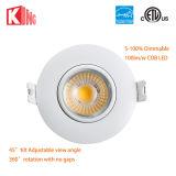 8W diodo emissor de luz Recessed direcional para baixo 110V claro 120V da suspensão Cardan de 3 polegadas