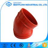 Красный покрашенный штуцер трубы дуктильного утюга Grooved