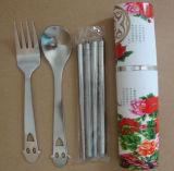 携帯用ステンレス鋼旅行食事用器具類はアルミニウムボックスパッケージとセットした