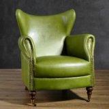 Sofá de couro clássico americano para sala de estar