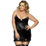 Applique Valentine Satin Plus Size Black Nightwear