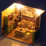 빛과 가구 작은 DIY 인형 집으로 손으로 만들