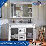 Muebles modernos de madera sólidos del cuarto de baño de las tapas contrarias del mármol del roble del solo fregadero
