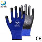 Gants de travail de sûreté enduits par nitriles d'interpréteur de commandes interactif du polyester U3 (N6026)