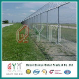 Загородка службы безопасности аэропорта загородки авиапорта сетки звена цепи с столбом y