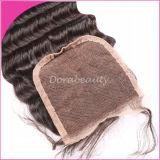 Волосы выдвижения человеческих волос малайзийской волны закрытия глубокой Kinky курчавые