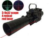 Super Nuttig Werkingsgebied 3-9X32eg. Rode Laser van het Werkingsgebied +Tactical van de Macht van het Gezicht van de Laser van de PUNT van het Geweer Scope+ van het Dradenkruis van Red&Green de Groene Tactische
