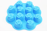 12 bolinhos do silicone de Rosa dos furos/molde do bolo