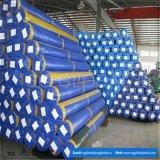 Bâche de protection imperméable à l'eau enduite par PE bleu dans le poids et la largeur différents