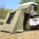 Folding Hard Shell Fiberglass Family Camping Car Roof Top Tenda com toldo