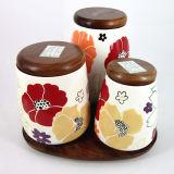 Boîte métallique en céramique florale avec la couverture en bambou, ensemble de 3 (GW1219)