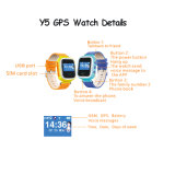 다중 기능 및 Sos 단추 (Y5)를 가진 다중 언어 아이 GPS 시계