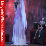 女性のHalloween党空想の幻影の花嫁のCosplayのコルセットの服の衣裳