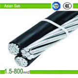 11kv 33kv 2X16mm2+1X25mm2 PVC/PE/XLPE Insulated ABC Cable