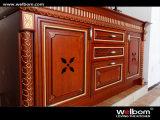 Disegni professionali dell'armadio da cucina della famiglia di legno rosso scuro della ciliegia di Welbom