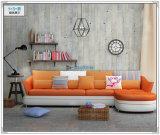 Sofà nero di colore, sofà di cuoio moderno, sofà domestico della mobilia (M303)