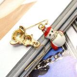 Boucles d'oreille de baisse en cristal de bonhomme de neige d'émail rouge blanc de cadeaux de Noël mini