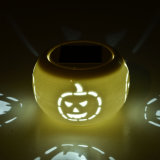 Halloween Solar Color Chang LED Pumpkin Ceramic Table Lights
