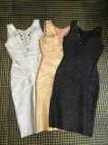 Tiefe v-hohle gestrickte Verband-GoldstempelnNachtclub-Kleider