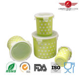 4PCS Cylindrical Plastic Food Storage Box com Airtight Lid