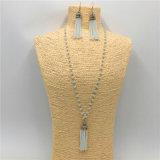 Collar de perlas de cristal de la moda con los pendientes del pendiente de la aleación joyería fija