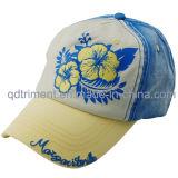 Помытый пигмент покрасил бейсбольную кепку вышивки Applique печати (TMB0730)