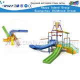 Campo de jogos plástico pequeno da corrediça do parque da água para o jogo dos miúdos (A-06302)