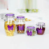Nice 4PCS Storage Glass Jar com tampa de cerâmica