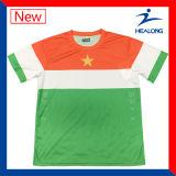 どのロゴの昇華緑色のサッカーでもジャージーのワイシャツを越える