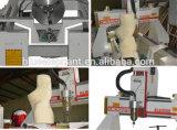 Mini machine en bois de publicité de couteau de commande numérique par ordinateur de modèle de dispositif rotatoire de l'axe 0508 pour l'aluminium de PVC de carte