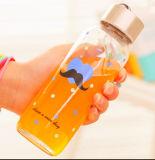 Belle bouteille d'eau de verre de conception de fleurs avec corde Gift Cup Sport Bouteille en verre