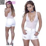 Le donne adattano gli Shorts Cuffed denim bianco L568