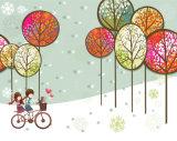 пара едет картина Bike напечатанная цифров для домашнего украшения