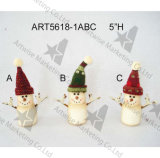 Bonhomme de neige de Santa sur les chiffres en bois de coeur, de lune et d'Étoile-Noël, 3asst