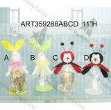 """"""" lapin de H 17 avec le raccord en caoutchouc et le Sign-2asst. - Décoration de Pâques"""