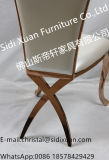 Moderne französische Möbel-Luxuxrosen-goldene Edelstahl PU, die Stuhl-Ausgangsmöbel speist