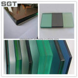 색깔 Laminated Glass Color Film Polished Edges 6.38 mm