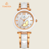 analog Quartz 형식 여자 수정같은 모조 다이아몬드 세라믹 시계 숙녀 손목 시계 71091