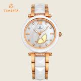 Kristallrhinestone-keramische analoge Quarz-Armbanduhr 71091 der Form-Frauen