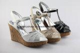 Sandale plate-forme à talon haut femme avec haut en PU brillant
