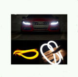 2016 최신 판매! ! ! 12V 60cm/80cm 차 LED 백색 노란 이중 색깔 천사 눈 빛을%s 가진 유연한 지구 빛 주간 운영하는 램프